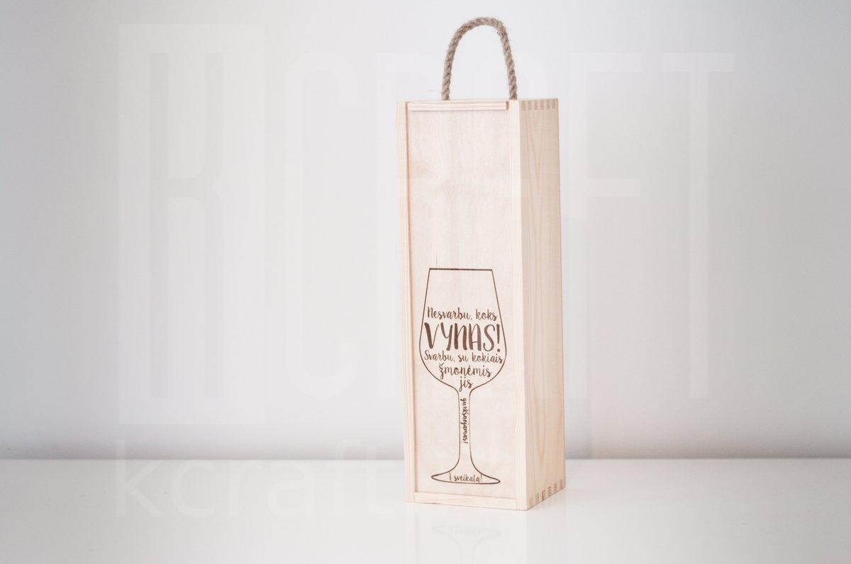 "Kaste pudelei ""Vīna glāze ar tekstu"""
